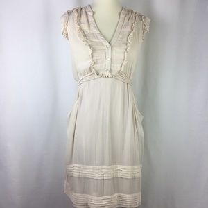 Anthropologie Odille Dress Size 2 Beige Sleeveless